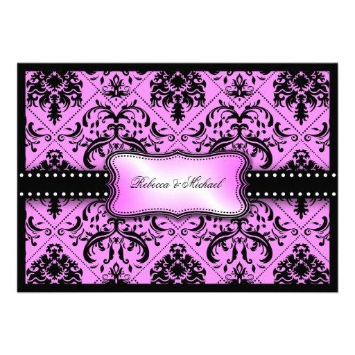 Damasco púrpura y negro hermoso del vintage invitacion personalizada