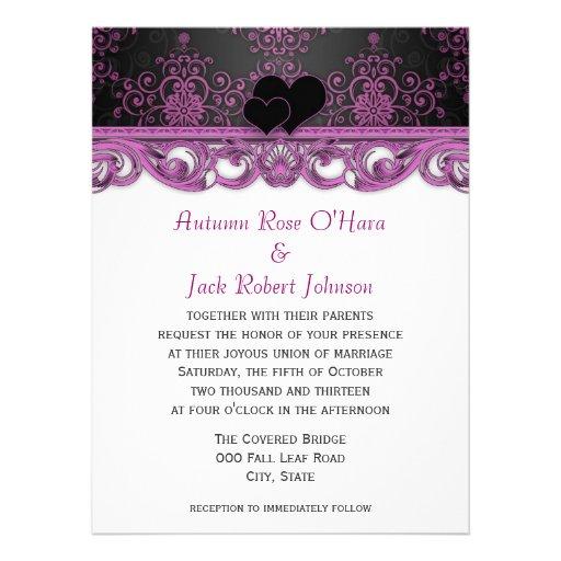 Damasco púrpura y negro magenta con los corazones invitaciones personalizada