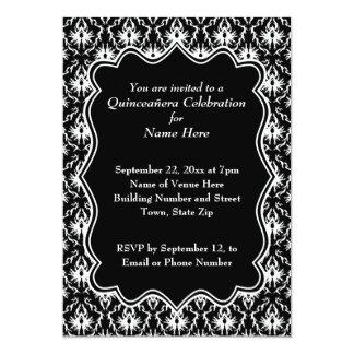 Damasco Quinceanera blanco y negro Invitación 12,7 X 17,8 Cm