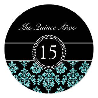 Damasco Quinceanera del negro del brillo del Invitación 13,3 Cm X 13,3cm