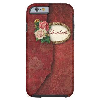 Damasco rasgado vintage y rosas rosados funda de iPhone 6 tough