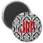 Damasco rojo blanco negro con monograma imanes de nevera