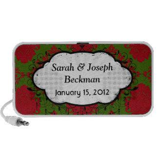 damasco romántico rojo verde del navidad iPod altavoces