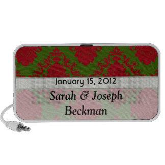 damasco romántico rojo verde del navidad laptop altavoz