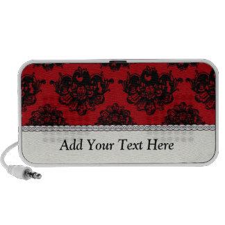 damasco romántico rojo y negro altavoces de viaje