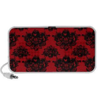 damasco romántico rojo y negro altavoces