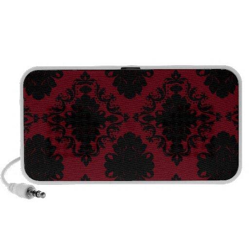 damasco romántico rojo y negro del diamante notebook altavoces