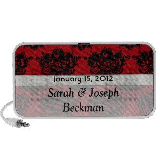 damasco romántico rojo y negro portátil altavoz