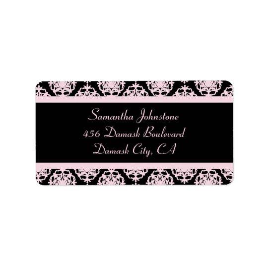 Damasco rosa claro en negro etiquetas de dirección