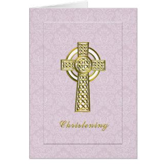 Damasco rosado del bautizo con la cruz del oro tarjeta de felicitación
