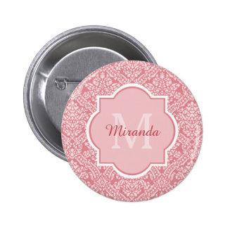 Damasco rosado femenino del monograma elegante con chapa redonda 5 cm