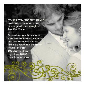 Damasco Swirly su invitación del boda de la foto