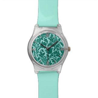 Damasco, turquesa y aguamarina del cardo de reloj de pulsera