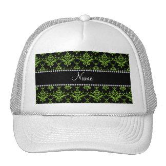 Damasco verde conocido personalizado gorros bordados