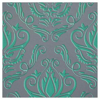 Damasco verde del trullo en gris plateados o su tela