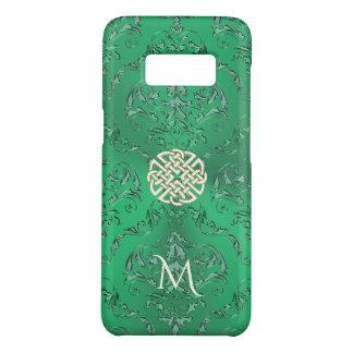Damasco verde irlandés con el nudo del Celtic del Funda De Case-Mate Para Samsung Galaxy S8