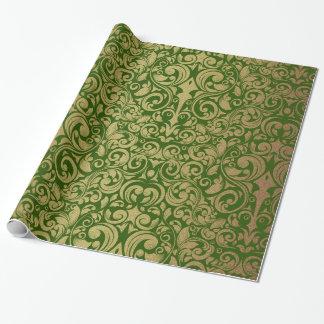 Damasco verde real del brillo elegante del oro papel de regalo