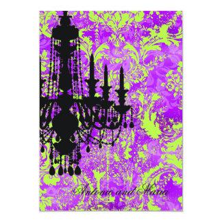 Damasco violeta caliente de la lámpara de la invitación 12,7 x 17,8 cm