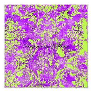 Damasco violeta caliente del vintage de la invitación 13,3 cm x 13,3cm