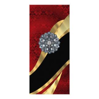 Damasco y oro rojos tarjeta publicitaria personalizada