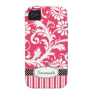 Damasco y raya personalizados del rosa del vintage iPhone 4 carcasa