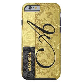 Damascos florales del oro negro y metálico funda de iPhone 6 tough