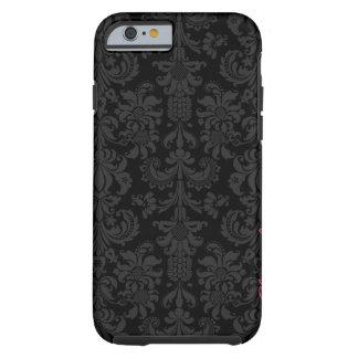 Damascos florales del vintage negro y gris oscuro funda de iPhone 6 tough