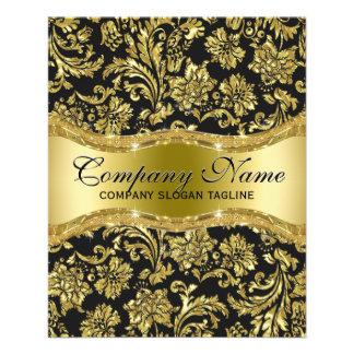 Damascos florales elegantes del oro negro y folleto 11,4 x 14,2 cm