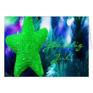 Danés Glædelig julio, Godt Nytår STAR-II verde Tarjeta De Felicitación