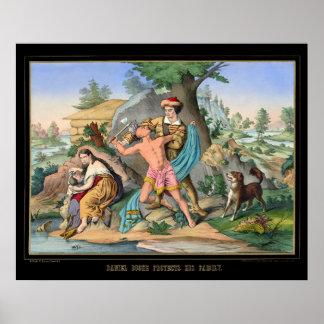 Daniel Boone protege a su familia 1840 Póster
