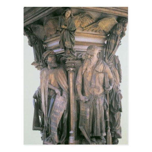 Daniel e Isaías en conflicto, pedestal hexagonal Tarjeta Postal