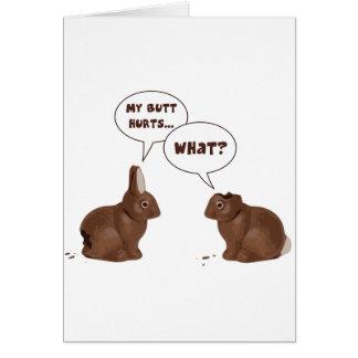 Daños del extremo de los conejos de conejito de tarjeta de felicitación