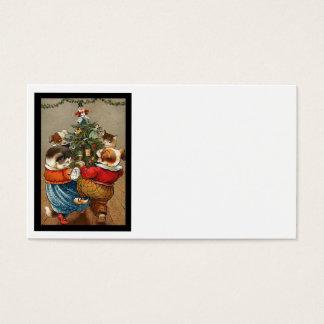 Danza alrededor del árbol de navidad tarjeta de negocios