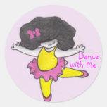Danza conmigo etiqueta redonda