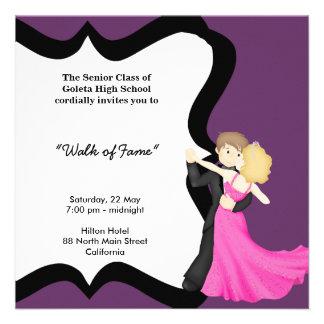 Danza de la noche del baile de fin de curso invitaciones personalizada