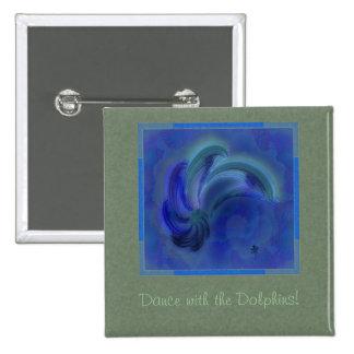 Danza del arte abstracto de los delfínes chapa cuadrada 5 cm