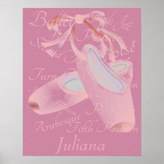 Danza del ballet de los niños personalizada póster