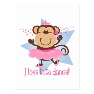 Danza del tutú del amor del mono postal