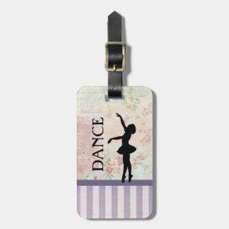 Danza - fondo del vintage de la silueta de la etiqueta para maletas