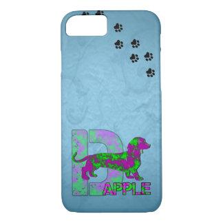 Dapple el Dachshund en púrpura y verde Funda Para iPhone 8/7