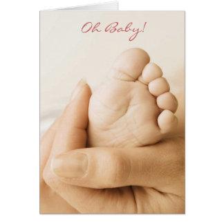 Dar la bienvenida al nuevo bebé tarjeta pequeña