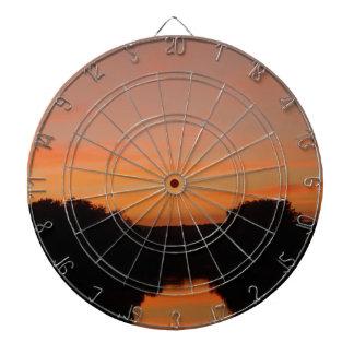 Dartboard escénico de la puesta del sol tabla dardos