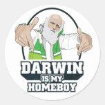 Darwin es mi Homeboy (a todo color) Pegatina Redonda