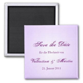 Date Save the de imanes en lila para Su boda Imán Cuadrado