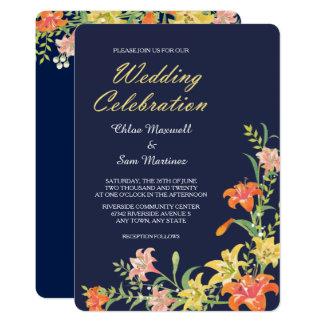 Daylilies del verano en la invitación del boda de