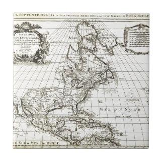 De 1708 LIsle Map de Norteamérica (Covens y MES Azulejo Cuadrado Pequeño