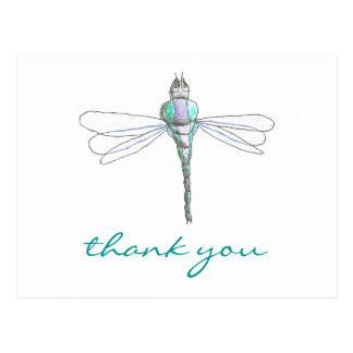 De agradecimiento de la libélula de los gráficos postal