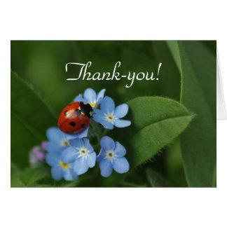 De agradecimiento de la mariquita tarjeta de felicitación