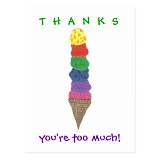 De agradecimiento del helado postal