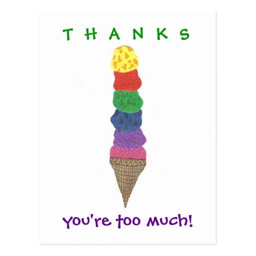 De agradecimiento del helado tarjetas postales